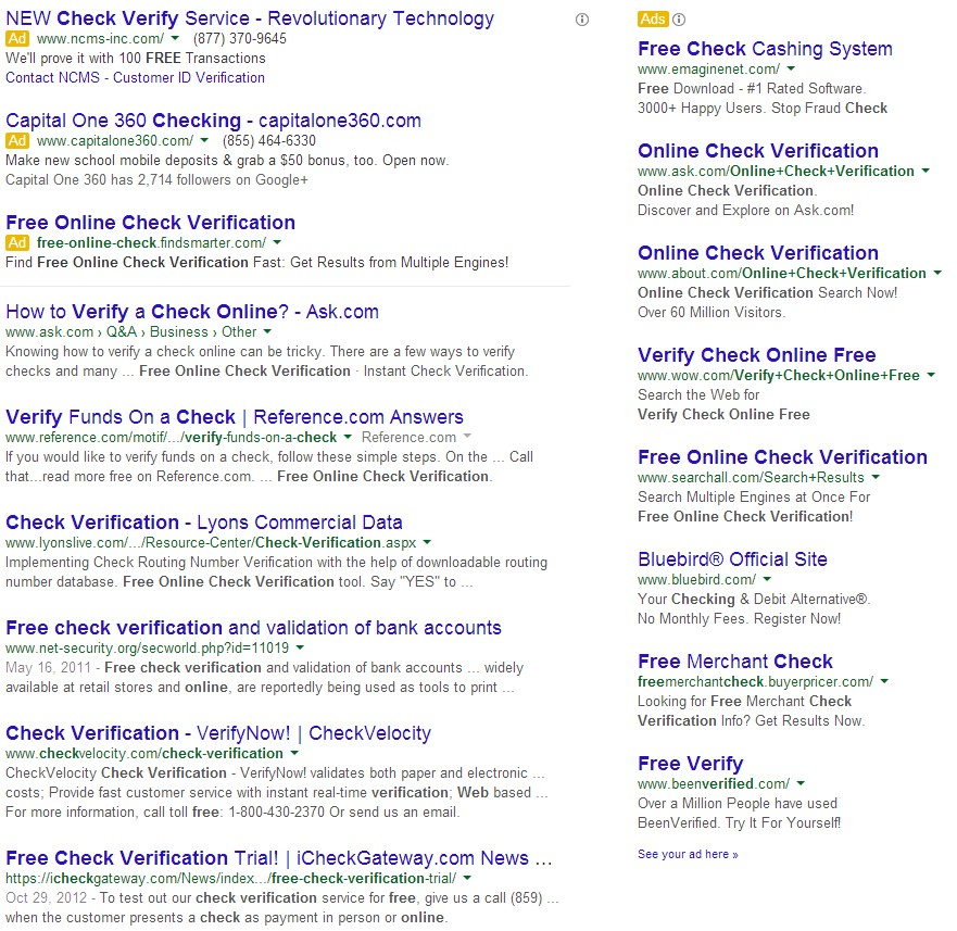 free online check verification