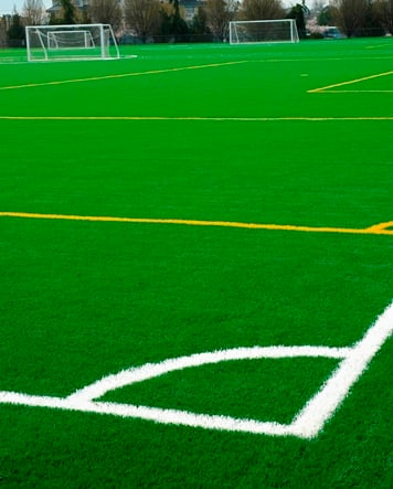 artificial field turf on a soccer field