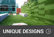 synthetic turf used for a unique wall design
