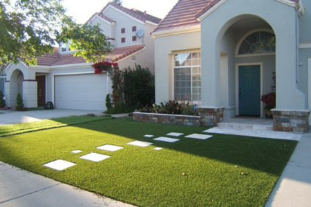 fake lawn in front of a house