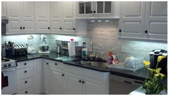 Carrara tile backsplash