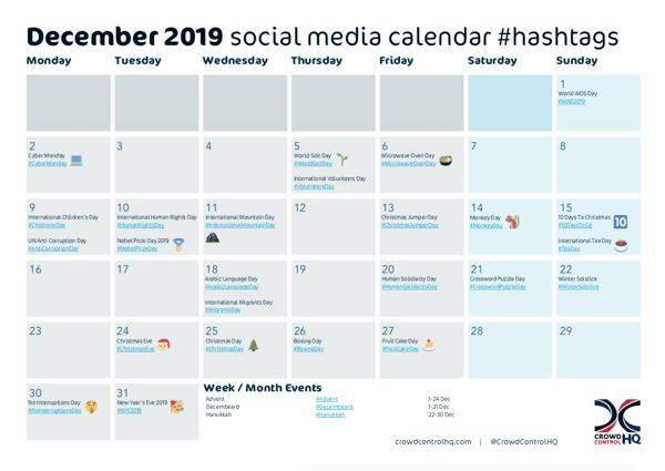 December 2019 social media calendar, content & hashtags-1