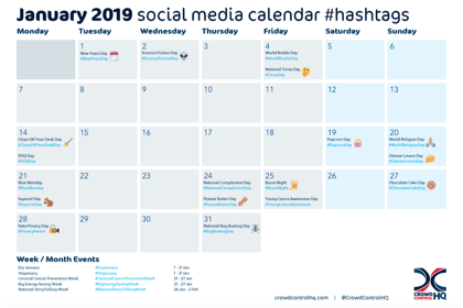 January 2019 social media calendar, content & hashtags-1-1