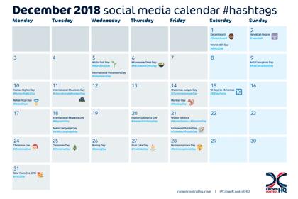 December 2018 social media calendar