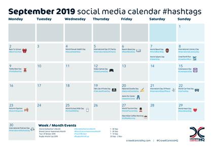 September 2019 Social Media Calendar Image