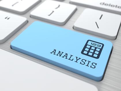 Data Analysis Concept. Analysis word on Blue Computer Button.