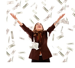 Business woman under a money rain - isolated over a white background.jpg
