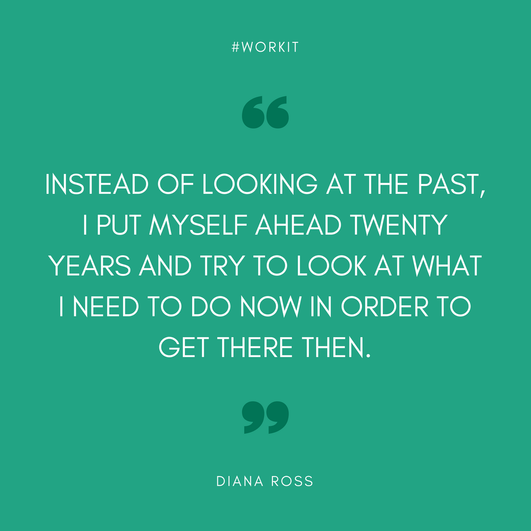 """""""Instead of looking at the past, I put myself ahead twenty years and try to look at what I need to do now in order to get there then."""" - Diana Ross"""