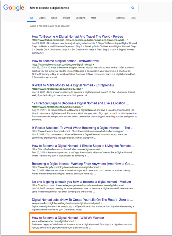 Google search results after two months