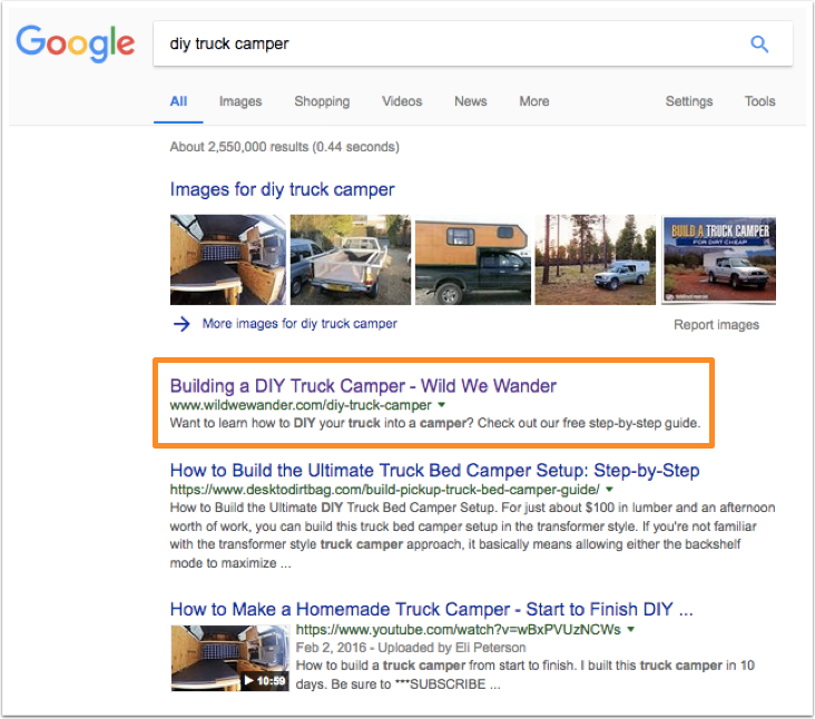 Google search results for diy truck camper