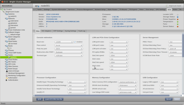 The Cluster Management GUI of Bright Cluster Manager 7 managing the BIOS settings of a Cisco UCS C-Series rack server.