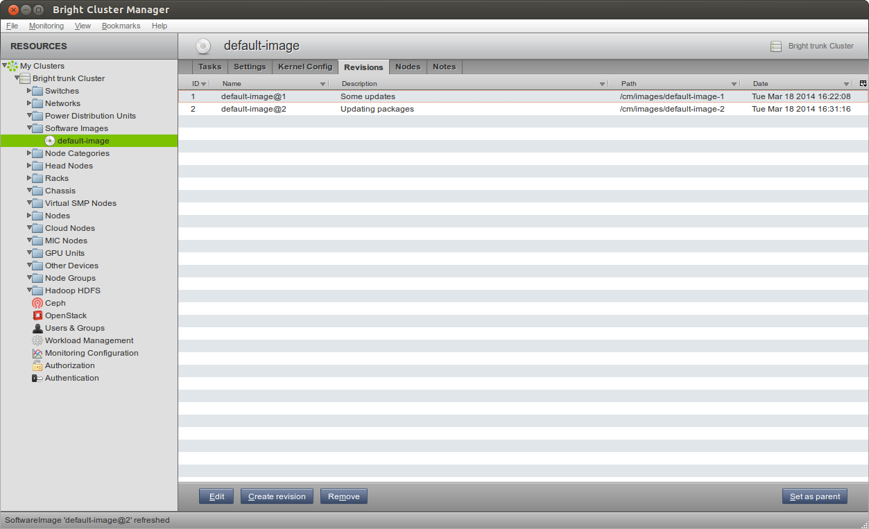 The Cluster Management GUI of Bright Cluster Manager 7 after the modified software image has been registered for revision control.