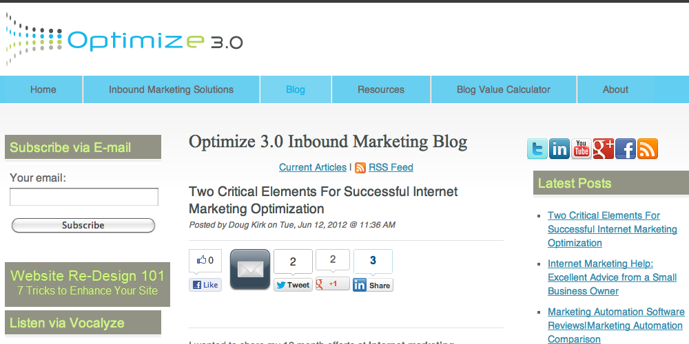 Optimize 3.0 Inbound Marketing Blog