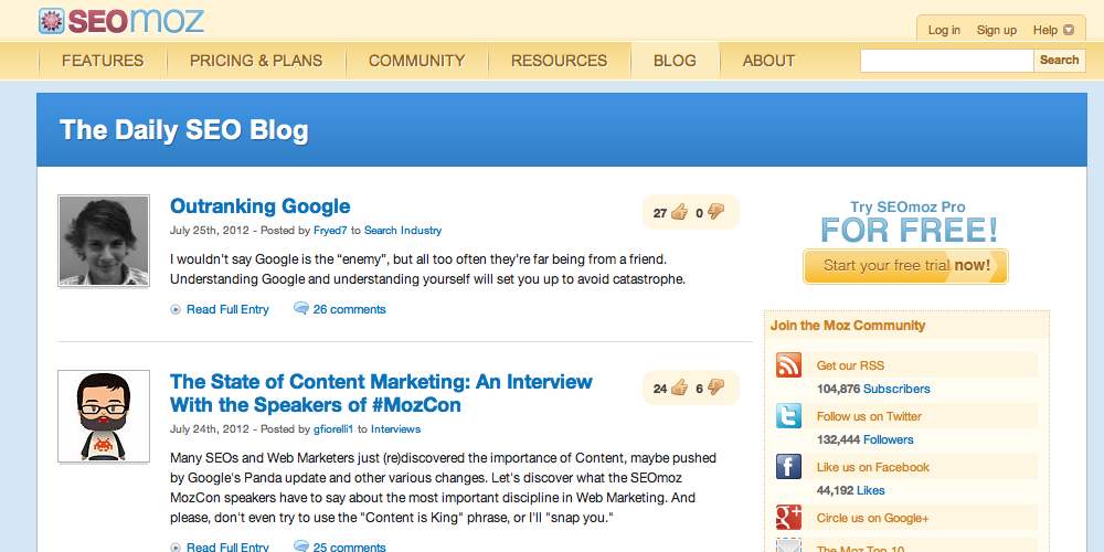 SEOMoz Inbound Marketing Blog