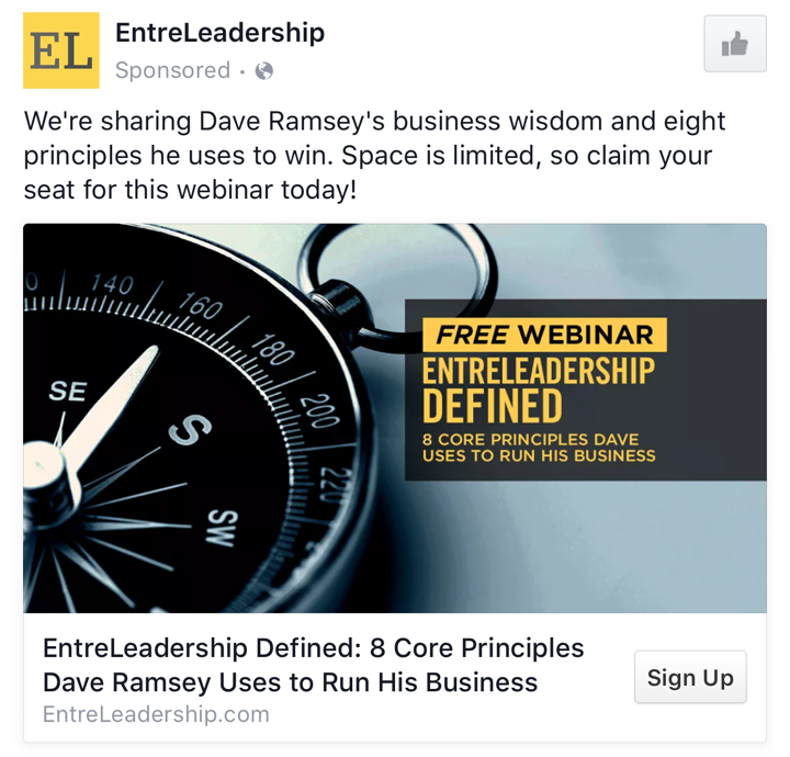 Entreleadership B2B Facebook Ad Example