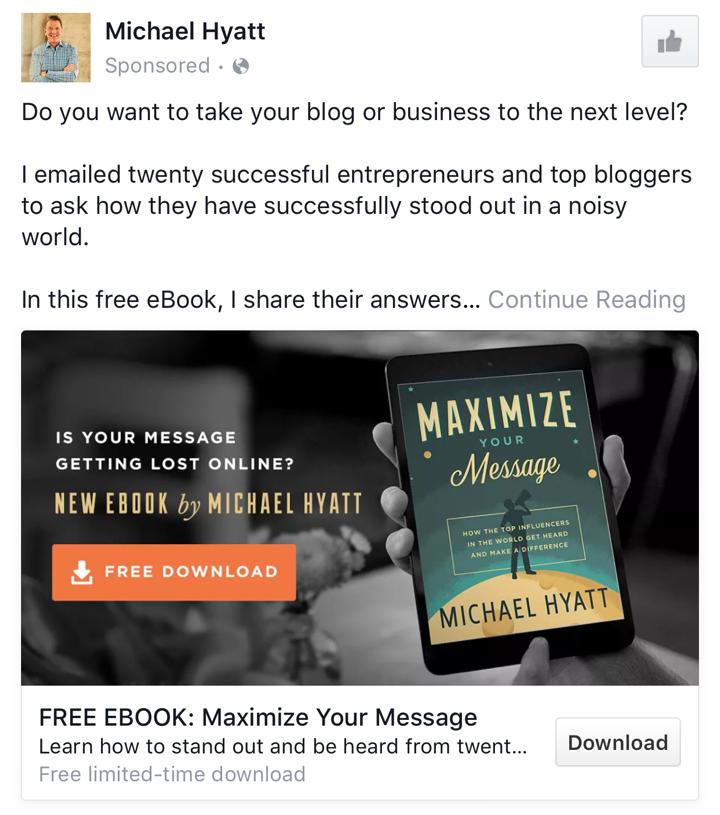 Michael Hyatt B2B Facebook Ad Example