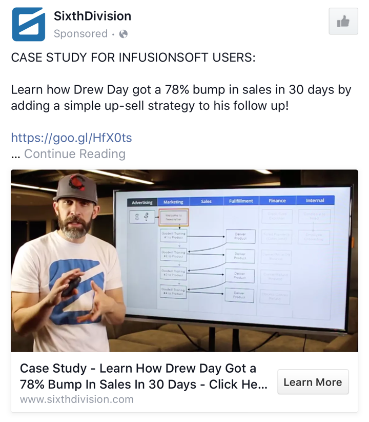 Sixthdivision B2B Facebook Ad Example