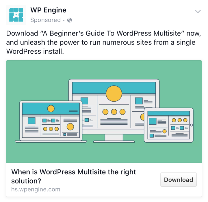 WPEngine B2B Facebook Ads Example