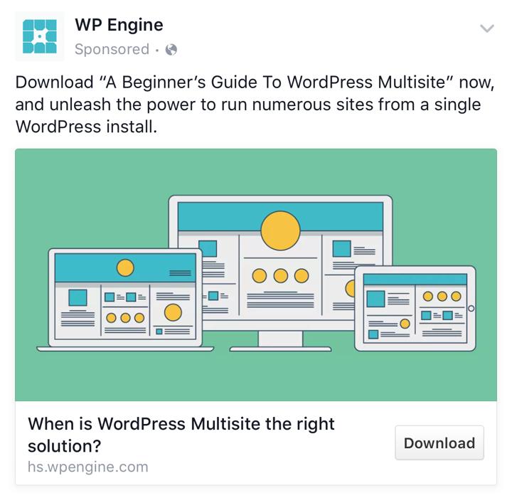 WPEngine B2B Facebook Ads Example