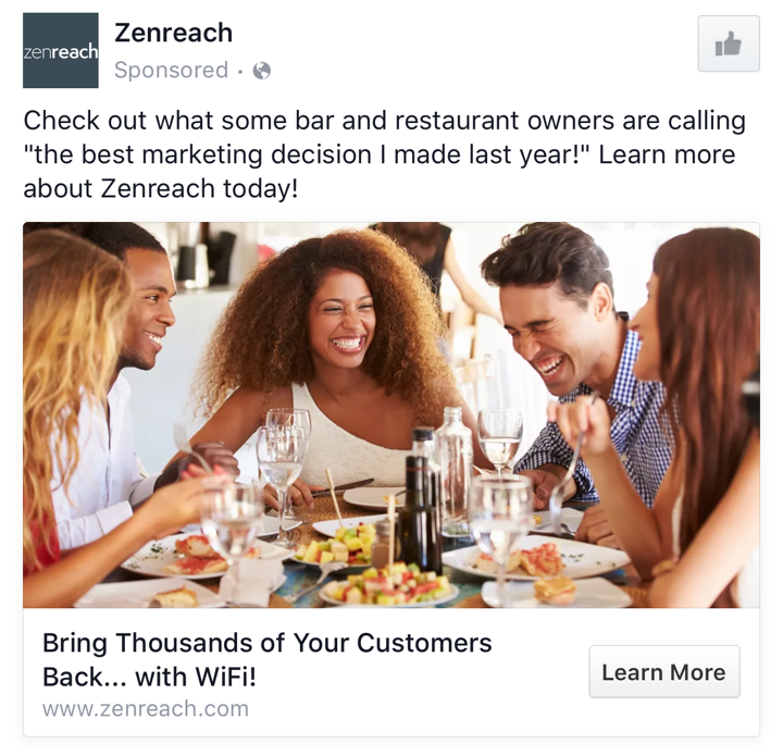 ZenReach B2B Facebook Ad Example