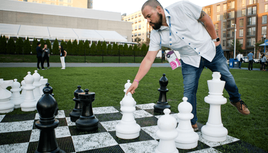 Playing giant chess on the Lawn on D at INBOUND