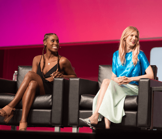Issa Rae and Brit Marling on stage at INBOUND