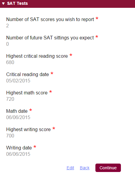 SAT Self Reporting Common App