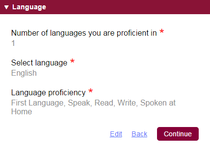 common app languages