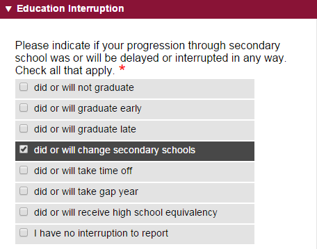 Education Interruption Common App