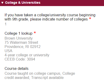 Common App Colleges and Universities
