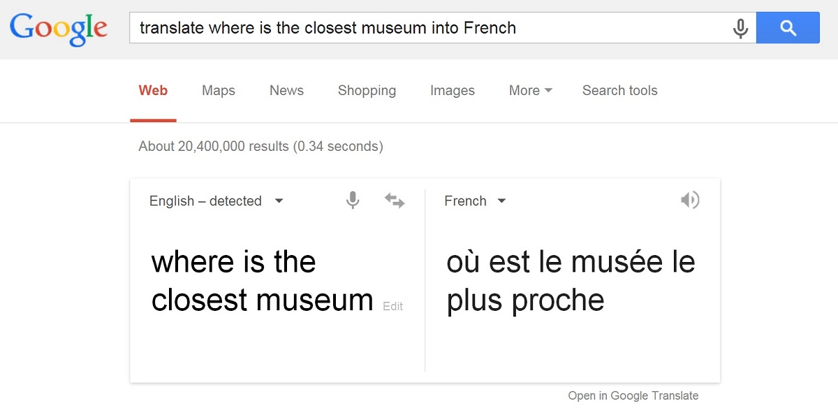 Google Translate in Search