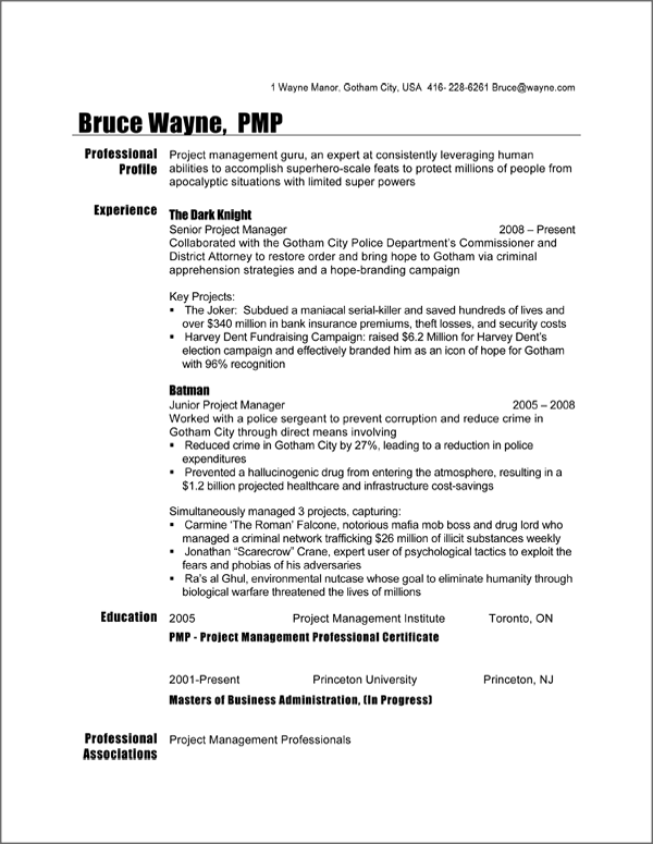 key tips to take away from batman s project manager resume sample