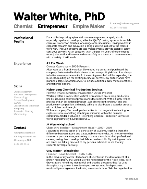 breaking bad walter white s engineer resume