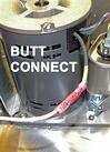 (Only on the L-series) Butt connect an additional length of white wire to the yellow motor wire