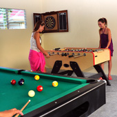 Enjoy table top football, table tennis and darts at Turtle Bay Dive Resort