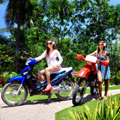 125cc and 200cc motorbikes for rent at Turtle Bay Dive Resort
