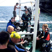 The dive boat arrives at Pescador Island