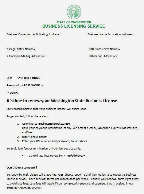 Washington Annual Report and Business License Renewal Change – Company Annual Report Sample