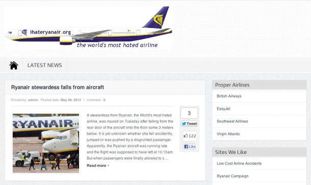 Hate site formed in response to RyanAir's poor service