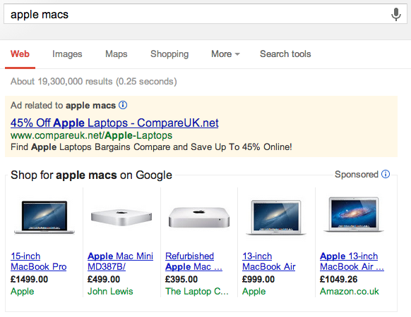 A Google PPC Product Listing Ad or PLA