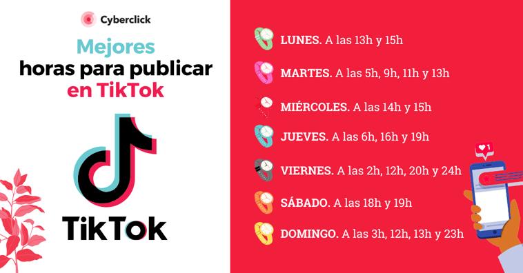 Mejores horas para publicar en TikTok