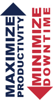 Red and blue arrows representing maximize production and minimize downtime.