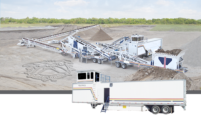 elrus crushing and screening spread with control trailer