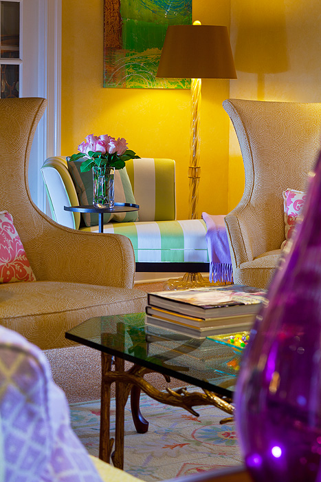 how to design with decorative rugs in yellow purple