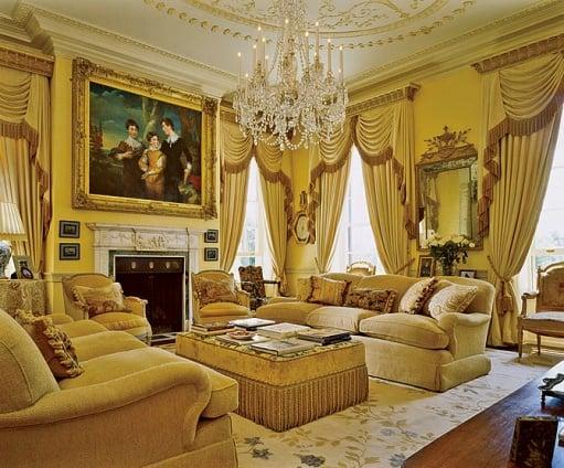 Floral needlepoint rug architectural digest - Gold rug for living room ...