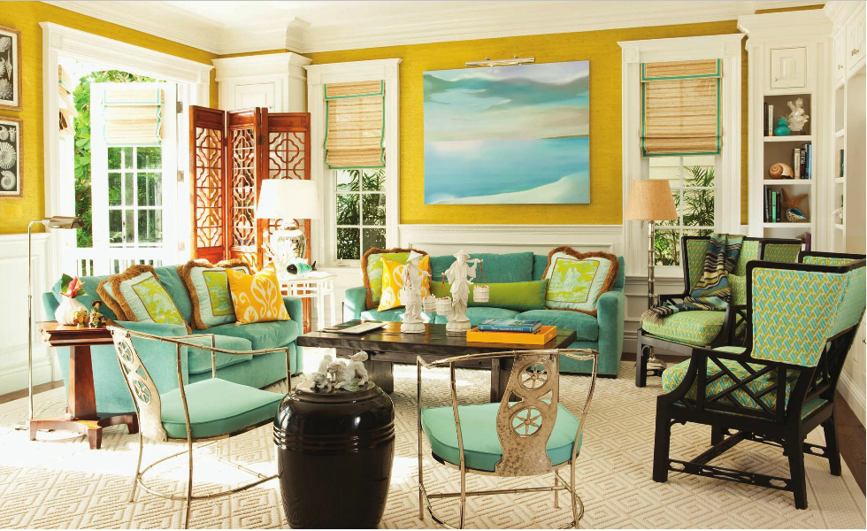10 Chic Florida Interiors With Decorative Rugs In Blue Yellow Green