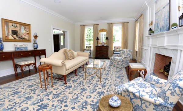 blue and white rug floral rug needlepoint rug asmara bergamo