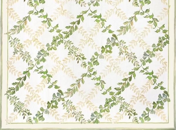 White and green trellis patterned Aubusson rug Treillage Aubusson Rug 5137C
