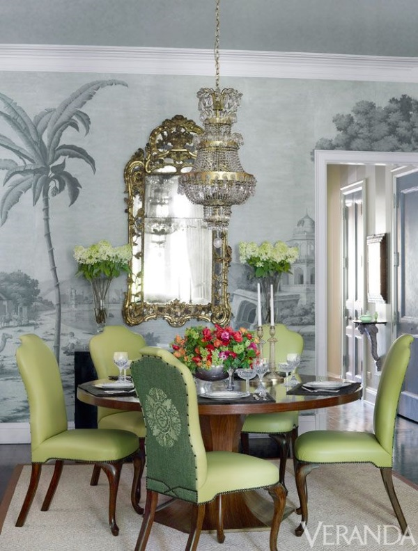 green dining room chairs | 12 Chic Tablescapes & Dining Rooms Enriched by Decorative Rugs