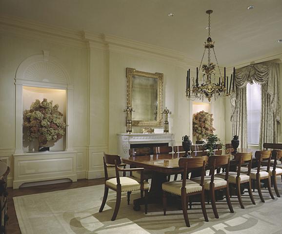 Cream Gold Tone On Oriental Rug Ferguson And Shamamian Park Avenue Dining Room